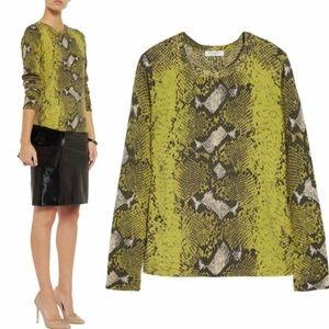 Equipment Sloane Yellow Python Cashmere Sweater